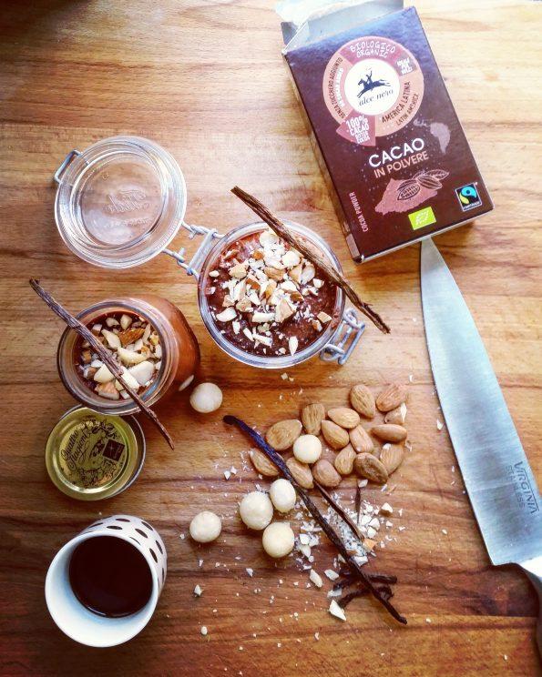 preparazione dell'hummus di ceci e cacao con cioccolato 100% dark